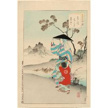 Mizuno Toshikata: Woman of the Meireki Era [1655-58] (Sosoro aruki, Meireki koro fujin), from the series Thirty-six Elegant Selections (Sanjûroku kasen) - Museum of Fine Arts