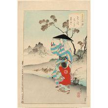 Mizuno Toshikata: Woman of the Meireki Era [1655-58] (Sosoro aruki, Meireki koro fujin), from the series Thirty-six Elegant Selections (Sanjûroku kasen) - Museum of Fine Arts