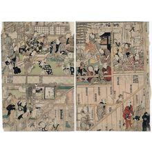 Utagawa Kunisada: Backstage at the Season Opening Performance of the Morita Theater, a Triptych (Morita-za kaomise gakuya no zu, sanmai tsuzuki) - Museum of Fine Arts