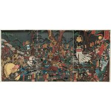 落合芳幾: The Great Battle of Kurikaradani between Kiso Yoshinaka and the Taira General Tomonori in 1183 (Juei ninen Kiso Yoshinaka Heishô Tomonori Kurikaradani ôgassen) - ボストン美術館