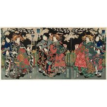 Ochiai Yoshiiku: Hanamachi (R), Koguruma (C), Nagao (L) - Museum of Fine Arts