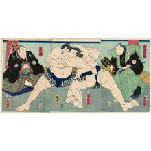 Utagawa Kunisada: Sumô Wrestlers Shiranui (R) and Kimenzan (L), Referee Shikimori Inosuke (R), and Judge Tamagaki (L) - Museum of Fine Arts