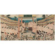 Utagawa Kunisada: Complete View of the Fund-raising Sumô Tournament (Kanjin ôzumô kôgyô no zenzu) - Museum of Fine Arts