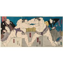 歌川国貞: Sumô Wrestlers Unryû (R) and Zôgabana (L), with Referee Shikimori Kandayû (R) and Judge Oitekaze (L) - ボストン美術館