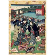 落合芳幾: Fish Market at Nihonbashi (Nihonbashi uo-ichi), from the series Souvenirs of Edo (Edo miyage no uchi) - ボストン美術館