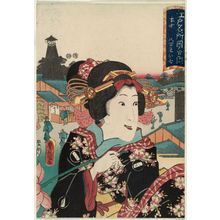 Utagawa Kunisada: Hongô: Yaoya Oshichi, from the series Pictures of Famous Places in Edo (Edo meisho zue) - Museum of Fine Arts