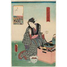 歌川国貞: Nihonbashi, from the series One Hundred Beautiful Women at Famous Places in Edo (Edo meisho hyakunin bijo) - ボストン美術館
