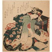 Katsushika Hokusai: Gidayû Chantress Reading Books - Museum of Fine Arts