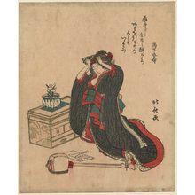 柳川重信: Woman kneeling and adjusting her hair - ボストン美術館