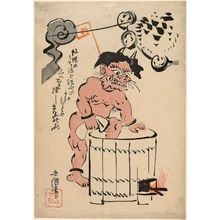 Kubota Beisen: The thunder god taking a bath - Museum of Fine Arts