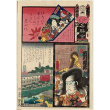 Utagawa Kunisada: We Brigade, Akabane: Actor Ichikawa Danzô as Shinchûnagon Tomomori, from the series Flowers of Edo and Views of Famous Places (Edo no hana meishô-e) - Museum of Fine Arts