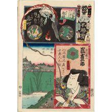 歌川国貞: Banchô: Actor Arashi Kichisaburô, from the series Flowers of Edo and Views of Famous Places (Edo no hana meishô-e) - ボストン美術館