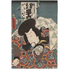 Utagawa Kunisada: Actor Ichikawa Ichizô III as Daijamaru, from the series Popular Matches for Thirty-six Selected Flowers (Tôsei mitate sanjûroku kasen) - Museum of Fine Arts