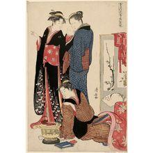 鳥居清長: Snow, from the series A Combination of Three Colors: Snow, Moon, and Flowers (Setsugekka mitsu no irodori) - ボストン美術館