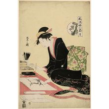 細田栄之: Painting (Ga), from the series The Six Arts in Fashionable Guise (Fûryû yatsushi rikugei) - ボストン美術館