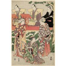 勝川春潮: Actors Ichikawa Komazô III as Gorokichi, Segawa Kikunojô III as Yamamoto no Osugi, and Iwai Hanshirô IV as Yamakage no Omatsu, with chanters Tokiwazu Mojitayû and Tokiwazu Mikitayû, and accompanist Tobaya Richô - ボストン美術館