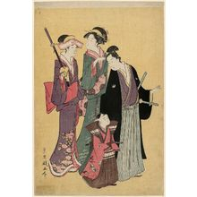 Rekisentei Eiri: Young Man, Small Boy, and Two Women Visiting a Shrine - Museum of Fine Arts