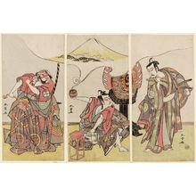 Katsukawa Shunsho: Actors Ichimura Uzaemon IX as Kudô Suketsune (R), Ichikawa Yaozô II as Soga no Gorô (C), and Sakata Hangorô III as Kobayashi Asahina (L) - Museum of Fine Arts