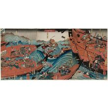 Utagawa Kuniyoshi: The Great Battle between the Minamoto and the Taira at Yashima (Genpei Yashima ôgassen) - Museum of Fine Arts