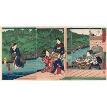 Utagawa Kunisada: Summer: Enjoying the Cool of Evening at the Otonashi River in Ôji (Natsu, Ôji Otonashi-gawa yûsuzumi), from the series Four Seasons of Genji by Two Brushes (Genji gôhitsu shiki) - Museum of Fine Arts