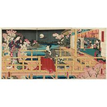 歌川国貞: Cherry Blossoms at Night in the Garden of Returning Geese (Kigantei no yozakura) - ボストン美術館