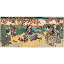 歌川国貞: Autumn Picnic Scene from Inaka Genji, from the series Eastern Magic Lantern Slides of a Charming Figure (Yasasugata Azuma no utsushi-e) - ボストン美術館