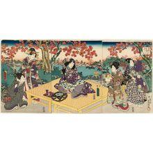 Utagawa Kunisada: Autumn Picnic Scene from Inaka Genji, from the series Eastern Magic Lantern Slides of a Charming Figure (Yasasugata Azuma no utsushi-e) - Museum of Fine Arts