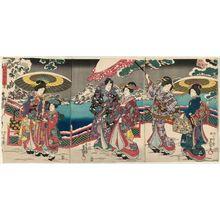 Utagawa Kunisada: Snow in the Palace Garden (Gotei no yuki) from the series The Four Seasons (Shiki no uchi) - Museum of Fine Arts