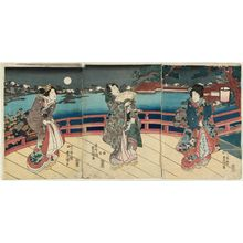 Utagawa Kunisada: Crossing a Bridge in a Moonlit Garden - Museum of Fine Arts