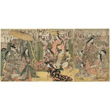 Kitagawa Utamaro: The Taikô and His Five Wives on an Excursion to the East of Kyoto (Taikô gosai Rakutô yûkan no zu) - Museum of Fine Arts