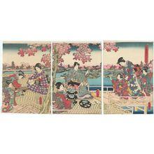Utagawa Kunisada: Eastern Genji's Cherry-blossom Banquet (Azuma Genji hana no yûen) - Museum of Fine Arts