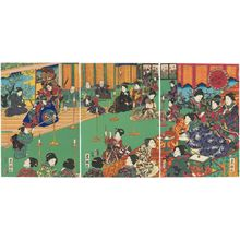 Utagawa Kunisada: Spring Festivities at the Palace of Flowers (Hana no goten yayoi no nigiwai) - Museum of Fine Arts