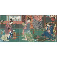 Utagawa Kunisada: The Fifth Month: Flower Arranging Contest (Satsuki, Ikebana awase), from the series The Twelve Months (Jûni tsuki no uchi) - Museum of Fine Arts