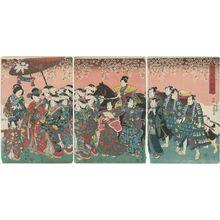 Utagawa Kunisada: Actors in a Cherry-blossom Viewing Procession (Ohanami gyôretsu no zu) - Museum of Fine Arts