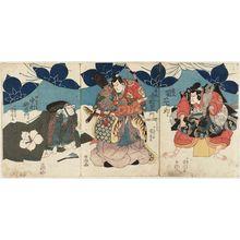 Utagawa Kuniyoshi: Actors Seki Sanjûrô (R), Ichimura Uzaemon (C), Nakamura Utaemon (L) - Museum of Fine Arts