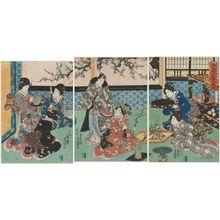 Utagawa Kunisada: Practicing Flower Arrangement on New Year's Morning (Haru no ashita ikebana keiko) - Museum of Fine Arts