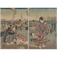 Utagawa Sadahide: Women on the Beach - Museum of Fine Arts
