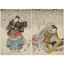歌川国貞: The Old Story of the Female Seigen (Mukashigatari Onna Seigen): Actors Iwai Kumesaburô III as Hanako no mae, later Seigen-ni (R), and Ichikawa Danjûrô VIII as Yoshida Matsuwakamaru (L) - ボストン美術館
