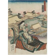 歌川国貞: View of Kyoto (Kyôto no zu), from the series Fifty-three Stations of the Tôkaidô Road (Tôkaidô gojûsan tsugi no uchi) - ボストン美術館