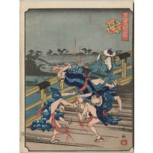 Nakajima Yoshiume: Naniwa-bashi, from the series Comical Views of Famous Places in Osaka (Kokkei Naniwa meisho) - Museum of Fine Arts