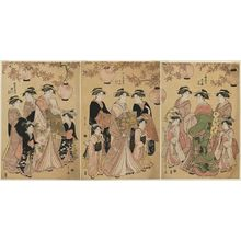 Hosoda Eishi: Courtesans Parading under Maple Leaves: Hanaôgi of the Ôgiya, kamuro Yoshino and Tatsuta (R); Chôzan of the Chôjiya, kamuro Yasoji and Isoji (C); Segawa of the Matsubaya, kamuro Takeno and Sasano (L) - Museum of Fine Arts
