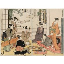 Torii Kiyonaga: A Party in an Open Room Overlooking a Garden, from the series Contest of Contemporary Beauties of the Pleasure Quarters (Tôsei yûri bijin awase) - Museum of Fine Arts