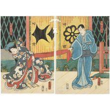 Utagawa Kunisada: Actors Ichikawa Danjûrô VIII as Kiyomizu Seigen (R) and Iwai Kumesaburô III as Sakura-hime (L) - Museum of Fine Arts