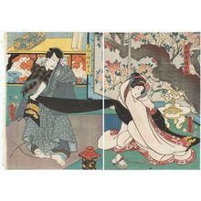 Utagawa Kunisada: Actors Iwai Kumesaburô III as Chigiriya's Daughter (Musume) Oume (R) and Ichikawa Kodanji IV as Tengu Kozô Matsuwaka no Roku (L) - Museum of Fine Arts