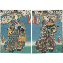 Utagawa Kunisada: Actors Iwai Kumesaburô III as Ôiso no Tora (R) and Nakamura Kamenojô I as Kisegawa no Kamegiku (L) - Museum of Fine Arts