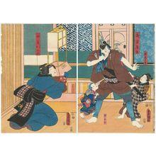 歌川国貞: Actors Tsutanosuke? as Son Tôtarô, Ichikawa Kodanji IV as Asakura Tôgo, ? as Son Kunimatsu (R), ? as Son San'nosuke, Onoe Kikujirô II as Wife Omine (L) - ボストン美術館
