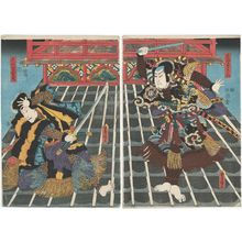 Utagawa Kunisada: Actors Arashi Rikan III as Takasago Yiminosuke (R), Ichikawa Danjûrô VIII as Ogata Jiraiya (L) - Museum of Fine Arts