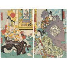 Utagawa Kunisada: Actors Ichikawa Danjûrô VIII as Shumeno Hangan, Iwai Kumesaburô VIII as Tamaori-hime (R), and Ichikawa Ebizô V as Renshô hôshi (L) - Museum of Fine Arts
