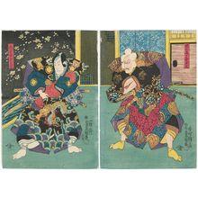 歌川国貞: Actors Ichikawa Ebizô V as Senoo Jûrô Kaneuji (R) and Sawamura Chôjûrô V as Saitô Ichirô Sanemori (L) - ボストン美術館