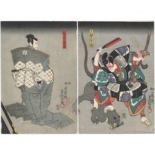 Utagawa Kunisada: Actors Iwai Kumesaburô III as Arajishi Otokonosuke (R) and Matsumoto Kinshô I as Nikki Danjô (L) - Museum of Fine Arts
